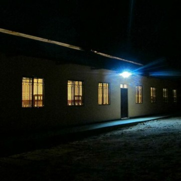 The girls dorm has electricity for studying, computers and security lighting.