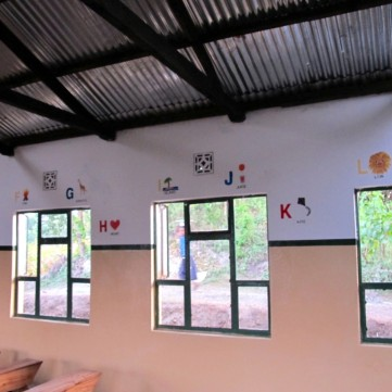 The pre-primary classroom at Mbasseny Primary School, hand painted by ASAP volunteers.